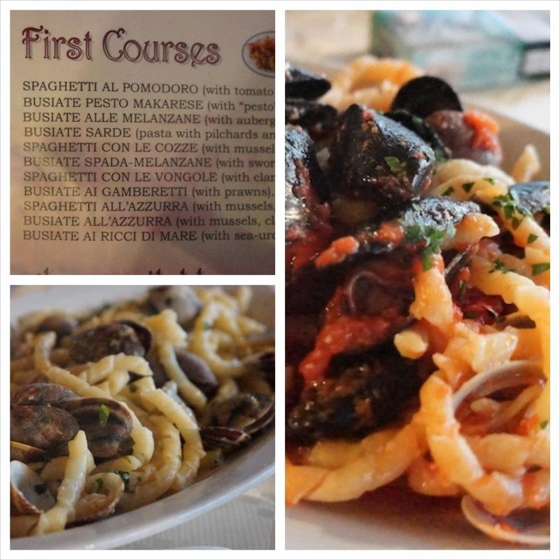 Doskonała restauracja Azzurra Makari znajduje się tuż nad Castelluzzo i zjedliśmy tam świetne makarony z owocami morza.