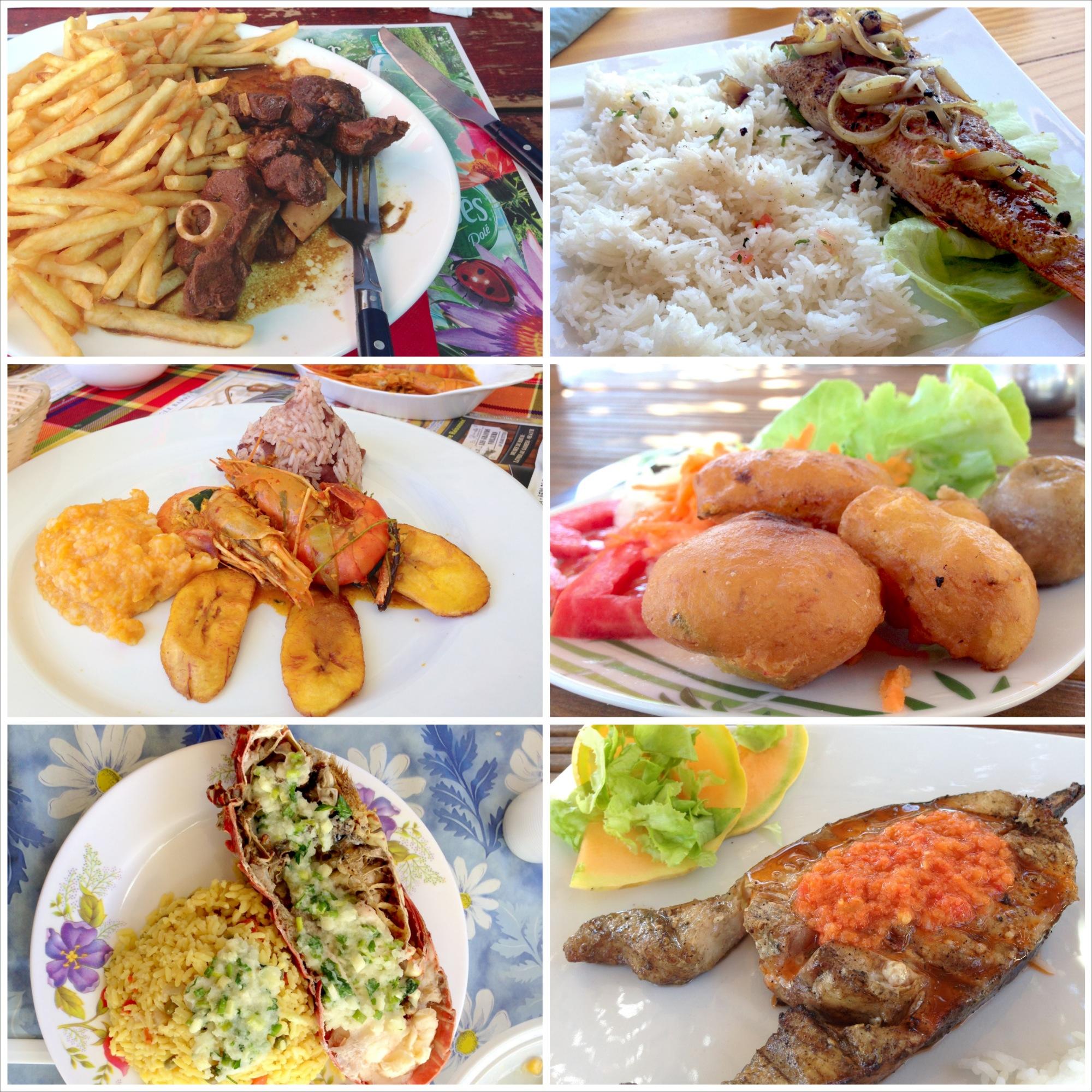 Barowa porcja frytek, ryba z ryżem, ouassous z bananem, accras, langusta, ryba.