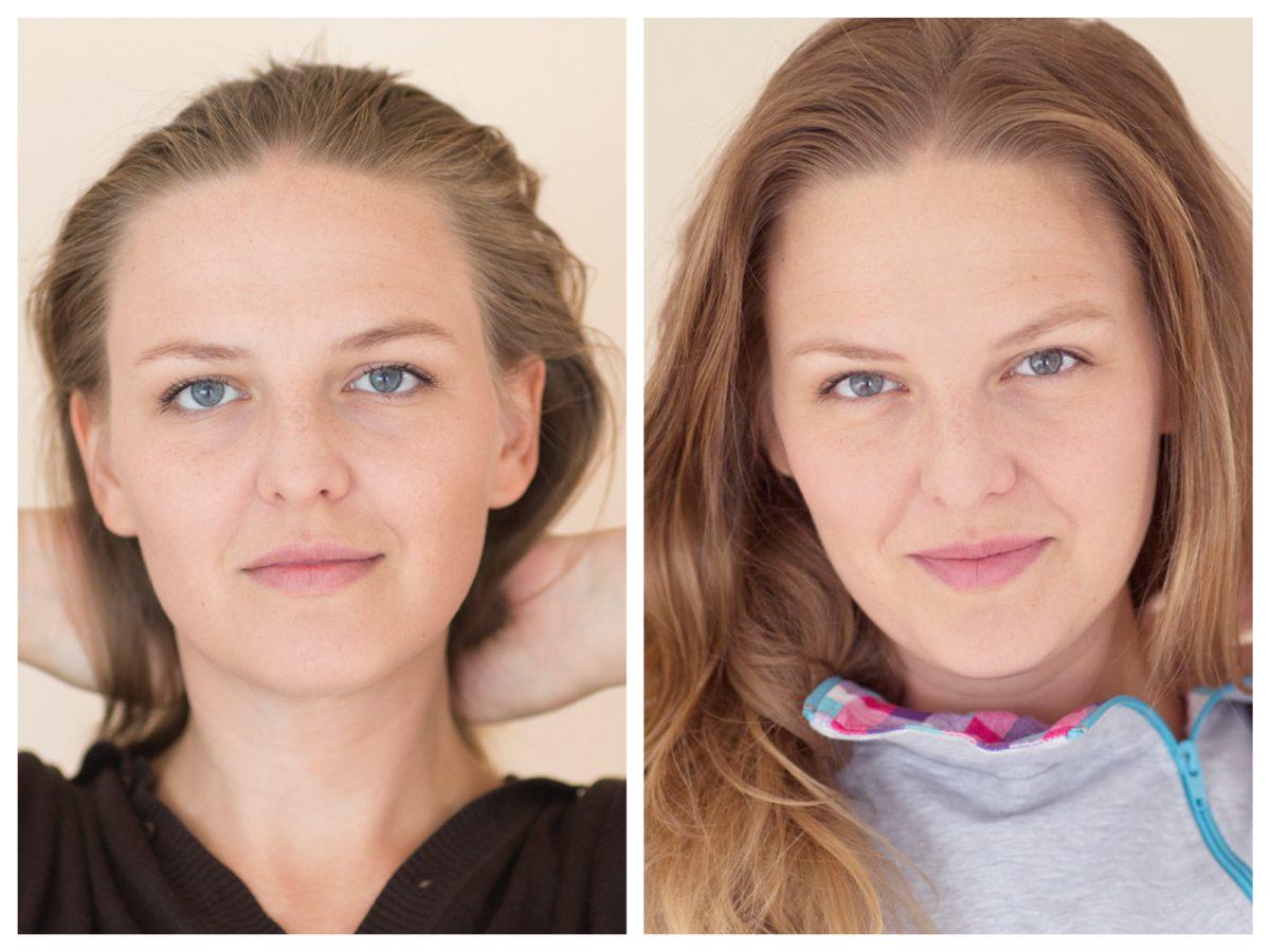 Zdjęcia z początku i końca testu Maybelline SuperStay Better Skin. Jak widzicie, nie miałam żadnych niedoskonałości do ukrycia, więc przetestowałam tylko efekt ujędrniający i rozświetlający cerę.